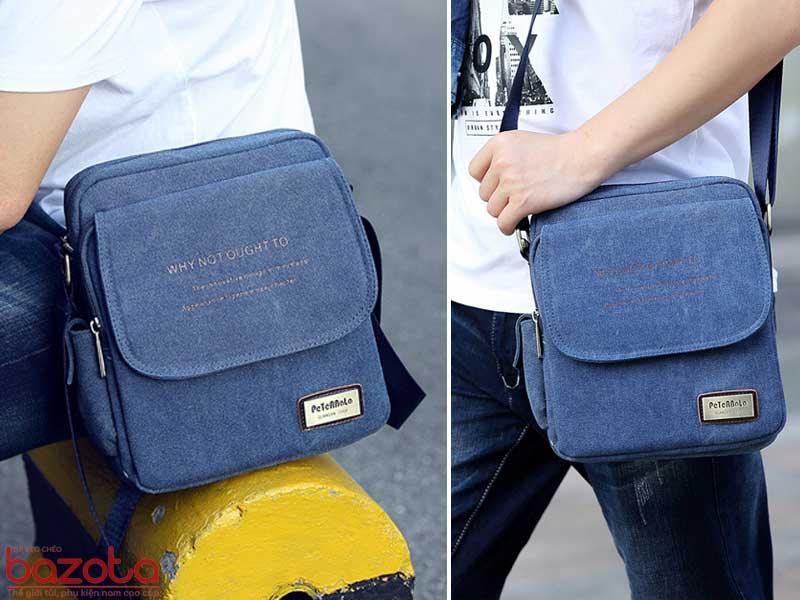 Túi đeo chéo vải bố cao cấp TV04 xanh tím than khi đi chơi