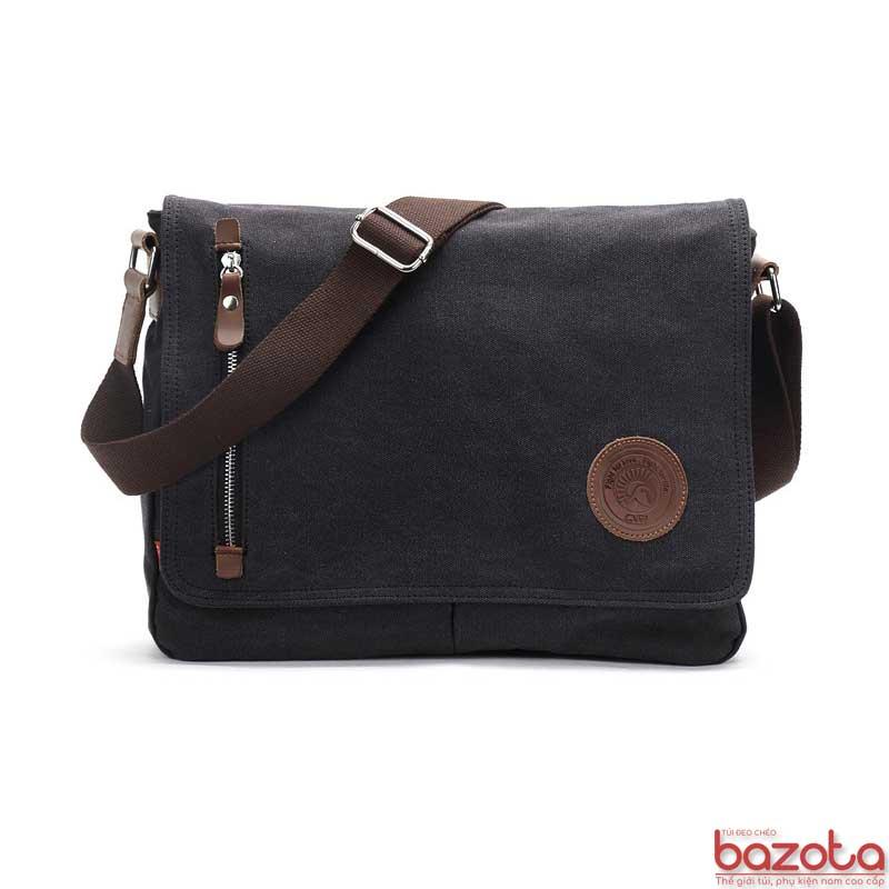 Túi đeo chéo vải bố pha da thật TV06 màu nâu đen