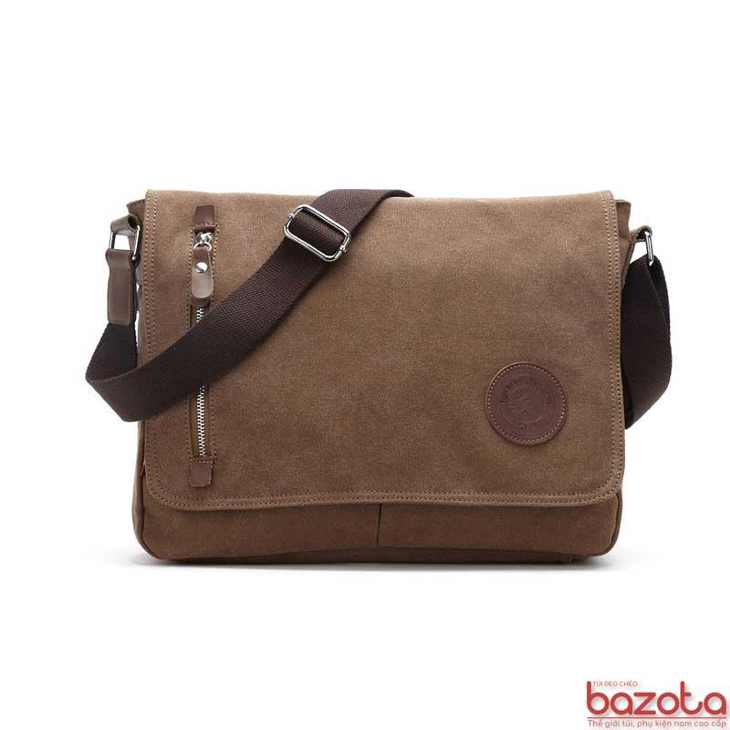 Túi đeo chéo vải bố pha da thật TV06 màu nâu cafe