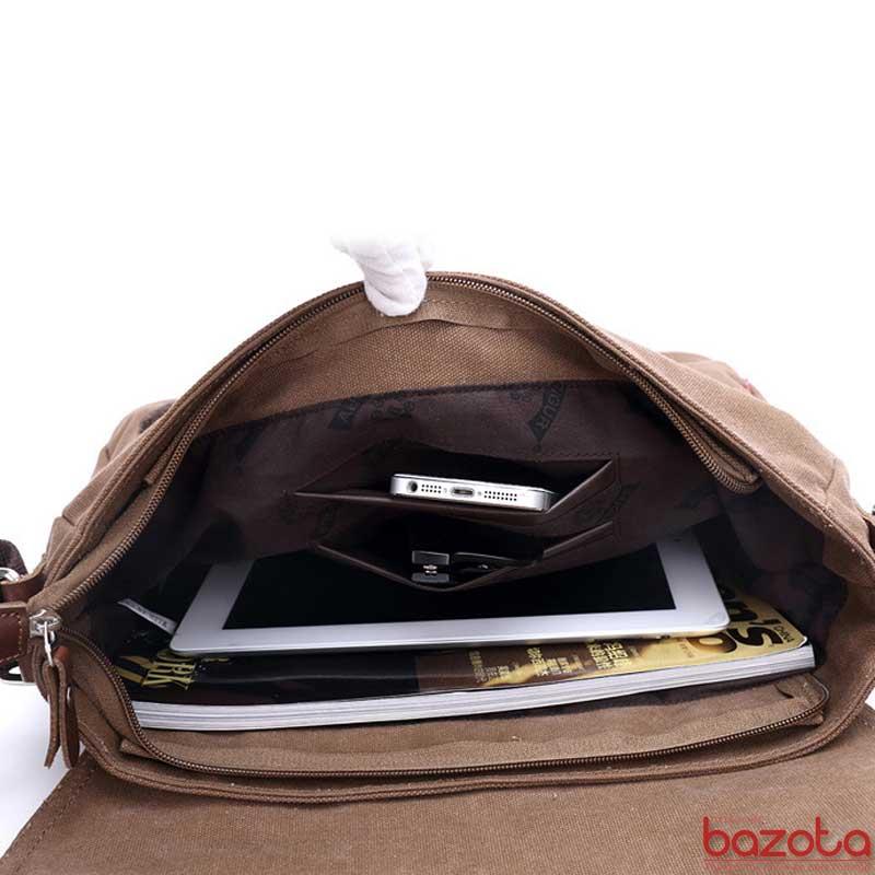 Túi có nhiều ngăn đựng đồ đạc. Đựng vừa giấy A4, sách vở, tạp chí, máy tính bảng iPad Air....