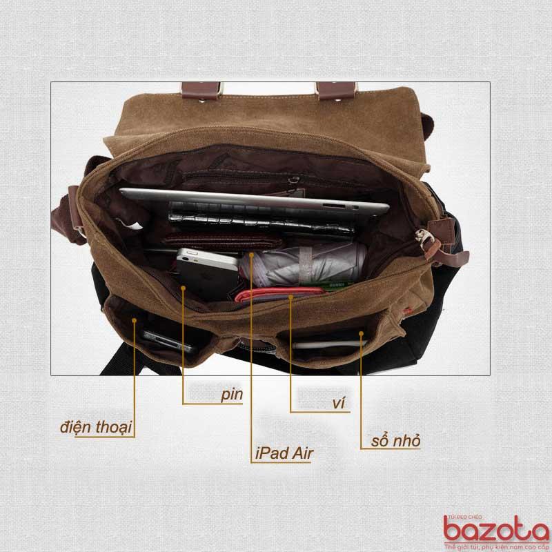 Túi có nhiều ngăn đựng đồ. Túi có khả năng chứa được iPad Air, sổ, điện thoại....